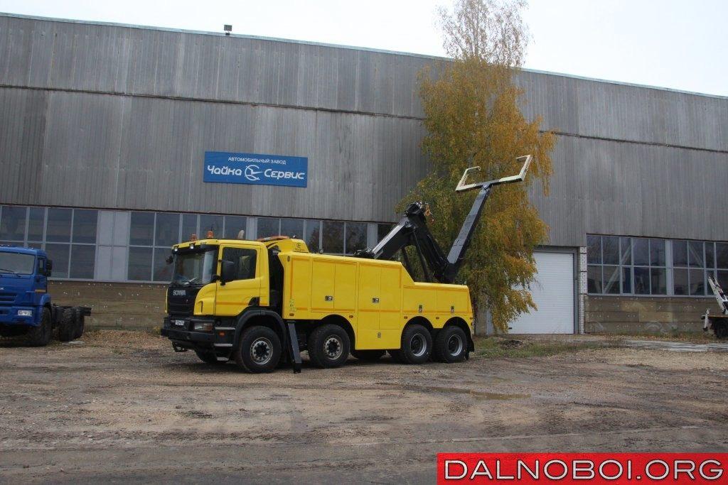 Наиболее свежий на сегодня «полупогруз», покинувший ворота нижегородской «Чайки» - эвакуатор на шасси Scania P400 (8х4)