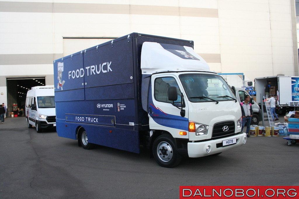 Новая версия Hyundai HD78 с надстройкой для доставки продуктов быстрого приготовления. Новую модель Hyundai HD78 теперь собирают и на заводе «АВТОТОР» в Калининграде