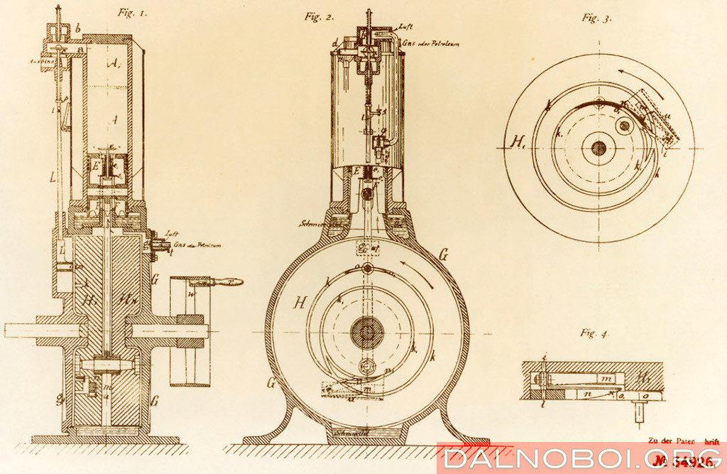 Схема из патента на двигатель Даймлера